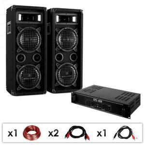 Electronic-Star DJ PA szett DJ-24, PA erősítő, hangfalak, kábel, 1200 W kép
