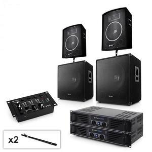 """Electronic-Star 2.2 PA rendszer készlet 2 x erősítővel, 2 x 15"""" subwooferrel, 2 x 10"""" hangfallal, keverőpulttal & kábelekkel kép"""