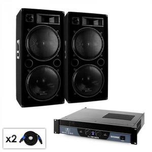 """Malone 2.0 """"Bass"""" DJ PA szett, erősítő, hangfal, kábel, 2000W kép"""