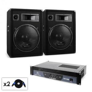 Malone Boom DJ PA szett, erősítő, hangfal, kábel, 1200W kép
