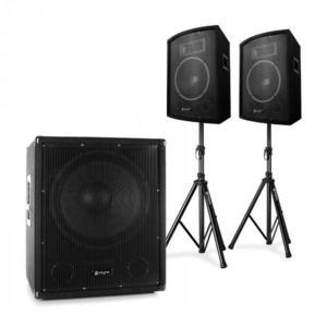 """Electronic-Star 2.1 aktív PA DJ szett, Bi-Amp subwooferrel, 10"""" hangfal párral és állványokkal kép"""