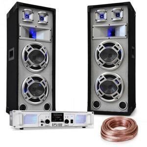 """Electronic-Star """"White Noise"""", DJ PA készlet, 2 x 500 W-os erősítő, 600W-os hangfalak, hangfal kábel kép"""