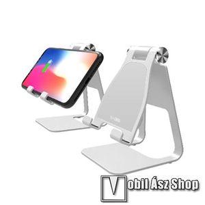 YOGEE UNIVERZÁLIS asztali töltő / alumínium állvány - QI Wireless vezetéknélküli töltő funkció, 10W (max), 270 fokos szögben állítható, maximum 1cm vastag készülékkel használható! - EZÜST kép