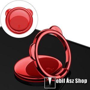 BASEUS Bear Shape ujjtámasz, gyűrű tartó - Biztos fogás készülékéhez, maci formájú, asztali tartó funkció, 360°-ban forgatható, tapadófelület mágneses autós tartóhoz - PIROS - GYÁRI kép