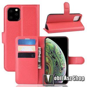 WALLET notesz tok / flip tok - PIROS - asztali tartó funkciós, oldalra nyíló, rejtett mágneses záródás, bankkártyatartó zseb, szilikon belső - APPLE iPhone 11 Pro kép