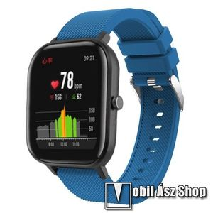 Okosóra szíj - szilikon, Twill mintás - SÖTÉTKÉK - 20mm széles, 130mm+95mm hosszú, 170-225mm átmérőjű csuklóméretig - SAMSUNG Galaxy Watch 42mm / Xiaomi Amazfit GTS / HUAWEI Watch GT / SAMSUNG Gear S2 / HUAWEI Watch GT 2 42mm / Galaxy Watch Active / Activ kép