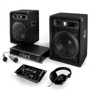 """Electronic-Star DJ szett: """"Basstigall"""" - erősítő, hangfalak, mikrofon, 1200W kép"""