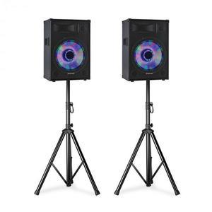 """Fenton TL12LED, PA hangszórókészlet, 2 x 12 """"passzív hangszóró, 2 x hangszóró állványok kép"""
