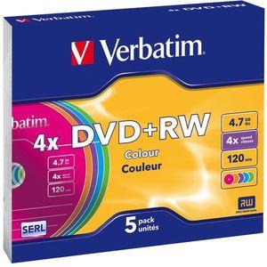 Verbatim DVD + RW 4x, SZÍNEK 5 db egy dobozban SLIM kép