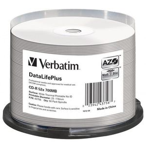 VERBATIM CD-R DataLifePlus 700MB, 52x, white thermal printable, spindle 50 db kép