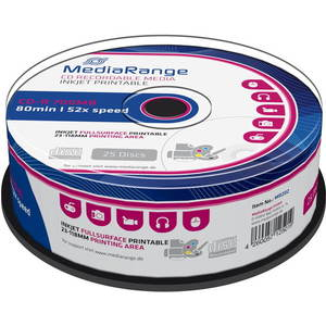 MediaRange CD-R Inkjet Printable Fullsurface 25db cakebox kép