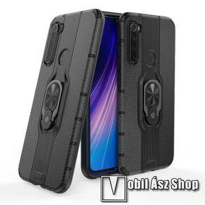 OTT! LEATHER RING műanyag védő tok / hátlap - FEKETE - bőrhatású, szilikon betétes, kitámasztható, fém ujjgyűrűvel, tapadófelület mágneses autós tartóhoz - ERŐS VÉDELEM! - Xiaomi Redmi Note 8 kép