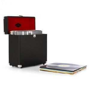 Auna TTS6 lemez tartó bőrönd, műbőr, nosztalgikus, 30 LP lemez, fekete kép