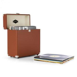 Auna TTS6, barna, lemeztartó koffer, bőr, nosztalgikus, 30 LP lemez kép