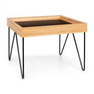 Besoa Big Lyon, dohányzóasztal, melamin/MDF, tölgy furnér, acél keret, fekete kép