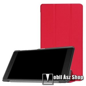 Notesz / mappa tok - PIROS - oldalra nyíló flip cover, TRIFOLD asztali tartó funkciós, mágneses záródás - Lenovo Tab 7 Essential (2017) / Lenovo Tab 4 7 (TB-7304F) kép