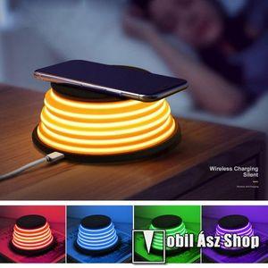 XOOMZ QI Wireless hálózati töltő állomás vezeték nélküli töltéshez - FEKETE - fogadóegység NÉLKÜL!, kimenet 5V/1A 9V/1.2A, 5 színű éjszakai fény kép