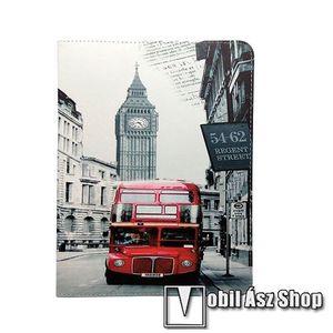 """UNIVERZÁLIS notesz / mappa tablet PC tok - LONDON MINTÁS - álló, bőr, asztali tartó funkciós, 9-10""""-os készülékekhez kép"""