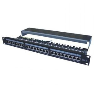 "Datacom Patch panel 19"" STP 24 port CAT6A LSA 1U BK (3x8p) /VL kép"