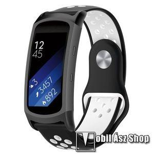 Okosóra szíj - légáteresztő, sportoláshoz, szilikon - FEKETE / FEHÉR - 95mm + 100mm hosszú, 18mm széles - SAMSUNG Gear Fit 2 SM-R360 / Samsung Gear Fit 2 Pro SM-R365 kép