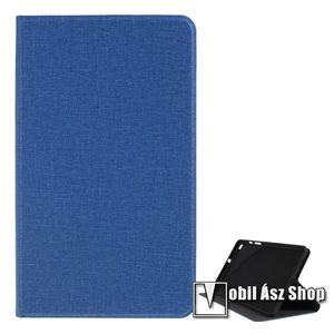 Notesz / mappa tok - SÖTÉTKÉK - oldalra nyíló flip cover, asztali tartó funkciós, textil hatás, szilikon belső - SAMSUNG SM-T295 Galaxy Tab A 8.0 LTE (2019) / SAMSUNG SM-T290 Galaxy Tab A 8.0 Wi-Fi (2019) kép