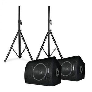 """Skytec SL10, diszkó hangfal pár állványokkal, 10""""-es woofer, max. 250 W, 2x állvány + táska kép"""