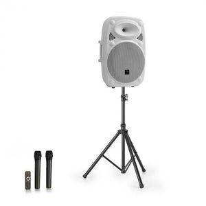 """Auna Streetstar 15, mobile PA rendszer + állvány, 15"""" mélynyomó, UHF mikrofon, 1000 W, fehér kép"""