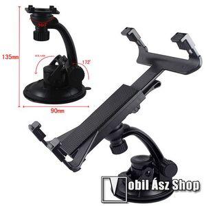 UNIVERZÁLIS TABLET PC gépkocsi / autó tartó - tapadókorongos / szélvédőre hyelezhető, 360°-ban elforgatható, 105mm - 145mm / 145mm - 250mm-ig állítható kép