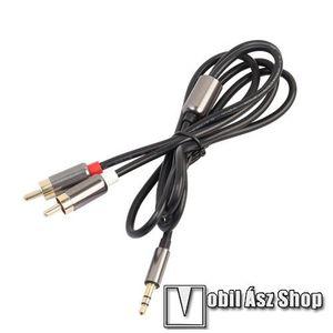 Audió kábel - 3, 5 mm jack / 2 RCA, 1m - FEKETE kép