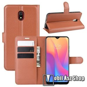 WALLET notesz tok / flip tok - BARNA - asztali tartó funkciós, oldalra nyíló, rejtett mágneses záródás, bankkártyatartó zseb, szilikon belső - Xiaomi Redmi 8A kép
