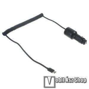 Szivargyújtó töltő/autós töltő - 12-24VDC, DC 5V / 2A, Quick charge 9V / 1.67A, 12V / 1.2A (max), rövidzár védelem, USB 3.1 Type C - FEKETE kép