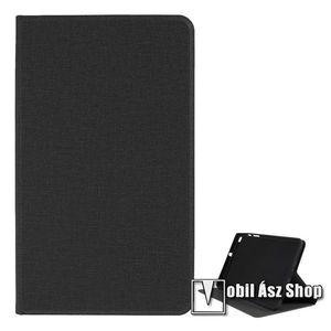 Notesz tok / mappa tok - FEKETE - textil hatás, asztali tartó funkciós, oldalra nyíló, szilikon belső - SAMSUNG SM-T295 Galaxy Tab A 8.0 LTE (2019) / SAMSUNG SM-T290 Galaxy Tab A 8.0 Wi-Fi (2019) kép