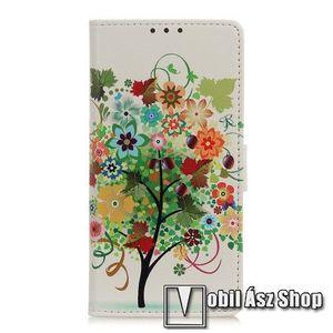 Notesz tok / flip tok - VIRÁGZÓ FA MINTÁS - asztali tartó funkciós, oldalra nyíló, rejtett mágneses záródás, bankkártyatartó zseb, szilikon belső - SAMSUNG Galaxy A51 (SM-A515F) kép