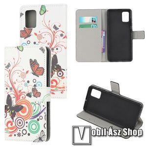 Notesz tok / flip tok - VIRÁG / LEPKE MINTÁS - asztali tartó funkciós, oldalra nyíló, rejtett mágneses záródás, bankkártyatartó zseb, szilikon belső - SAMSUNG Galaxy A71 (SM-A715F) kép