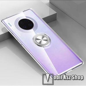 OTT! METAL RING szilikon védő tok / hátlap - ÁTLÁTSZÓ - fém ujjgyűrű, tapadófelület mágneses autós tartóhoz, ERŐS VÉDELEM! - HUAWEI Mate 30 Pro / HUAWEI Mate 30 Pro 5G kép