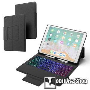 Notesz / mappa tok - FEKETE - oldalra nyíló, mágneses záródás, asztali tartó funkció, 500mAh beépített akkumulátor, RGB háttérvilágítás, kivehető bluetooth billentyűzet (ANGOL KIOSZTÁSÚ!), szilikon belső - APPLE iPad 10.2 (7th Generation) (2019) kép