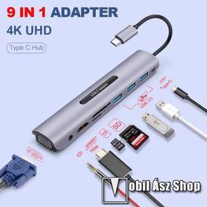 USB Type-C 9 az 1-ben dokkoló állomás - 3x USB 3.0 port + 1x Type-C töltőport + 1x HDMI port + 1x 3.5mm jack + TF / SD kártyaolvasó, 1x VGA csatlakozás - EZÜST kép