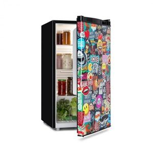 Klarstein Cool Vibe, hűtőszekrény, A+, 90l, VividArt Concept, manga stílus, fekete kép