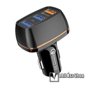 JOYROOM szivargyújtó töltő / autós töltő 3x USB aljzat - 5V / 2400mA, 30W, QC3.0, gyorstöltés támogatás, kábel nélkül! - FEKETE - C-M303_B - GYÁRI kép