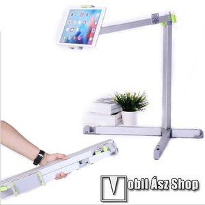 """UNIVERZÁLIS Tablet / telefon tartó / állvány - 360 °-fokban forgatható, alumínium, tripod, összecsukható, állítható magasság 500-1500 mm-ig, max 12""""-os készülékhez - EZÜST kép"""
