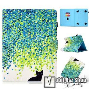 """UNIVERZÁLIS notesz / mappa tablet PC tok - CICA MINTÁS - álló, bőr, mágneses, asztali tartó funkciós, 10"""" készülékekhez kép"""