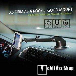 BASEUS Solid Series autós tartó / állvány - 360°-ban forgatható, 9, 5-14cm-ig állítható teleszkópos kar, mágneses, tapadókorongos - EZÜST - GYÁRI kép