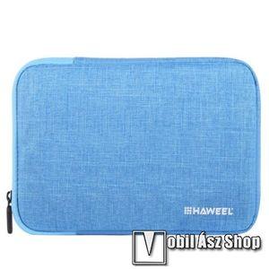 """HAWEEL Tablet / Laptop UNIVERZÁLIS tok / táska - KÉK - Szövet, bársony belső, 2 különálló zsebbel, ütődésálló, vízálló - ERŐS VÉDELEM! - 9, 7""""-os készülékekig használható, 250 x 180 x 20 mm kép"""