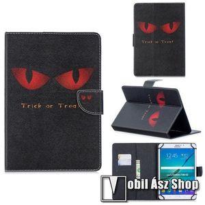 """UNIVERZÁLIS notesz / mappa tablet PC tok - TRICK OR TREAT MINTÁS - álló, bőr, rejtett mágneses záródás, bankkártyatartó zsebek, asztali tartó funkciós, 8"""" készülékekhez kép"""