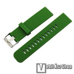 Okosóra szíj - szilikon, 85mm + 100mm hosszú, 20mm széles - ZÖLD - SAMSUNG Galaxy Watch 42mm / Xiaomi Amazfit GTS / SAMSUNG Gear S2 / HUAWEI Watch GT 2 42mm / Galaxy Watch Active / Active 2 kép