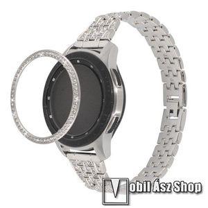 Okosóra lünetta védő alumínium - EZÜST - strasszkővel díszített - SAMSUNG Galaxy Watch 46mm kép