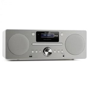 Auna Harvard mikro zenei rendszer, DAB/DAB+, FM tuner, CD-lejátszó, USB töltő, fehér kép