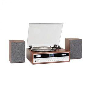 Auna Birmingham, HiFi sztereó rendszer, DAB+/FM, BT, bakelit lemez, CD, USB, AUX bemenet, fa kép