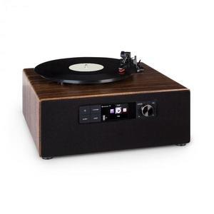 Auna Connect Vinyl Cube, lemezjátszó, max. 40 W, internet/DAB+/FM, USB, barna kép