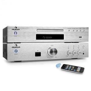 """Auna """"Elegance Tower Bluetooth"""", ezüst, 2.0 HiFi összeállítás, MP3-CD lejátszó + erősítő, 600 W kép"""